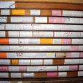 "Communications: the ""3 by 5"" board, an internal communication system which uses index cards for posting public notices."