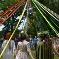 Preparing to dance the May Pole