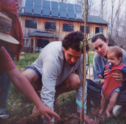 Tree planting in eco-residence yard